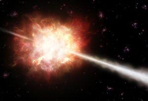 Illustrationen viser en eksploderende stjerne med gammaglimt i det tidlige univers. Kunstnerisk gengivelse: ESO