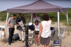 Wieth-Knudsen Observatoriets solkikkert på stranden ved Tisvildeleje 15. august 2015. Foto Michael Quaade.